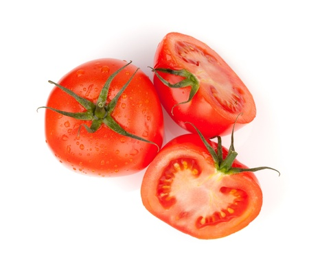 Fresh red tomatoes with water drops. Isolated on white background Stock Photo - 9248295