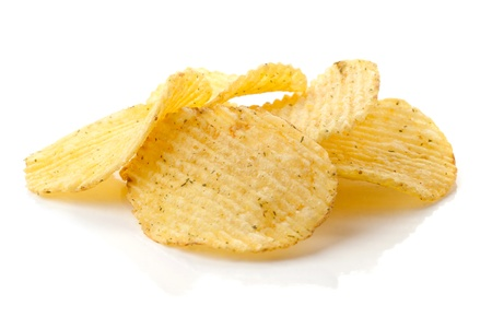 potato crisps: Potato chips isolated on white background Stock Photo