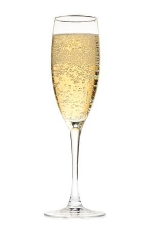 dwarsfluit: Glas Champagne. Geïsoleerd op witte achtergrond Stockfoto