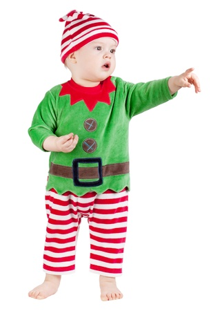 Small baby in santa suit. Isolated on white Stock Photo - 9248308