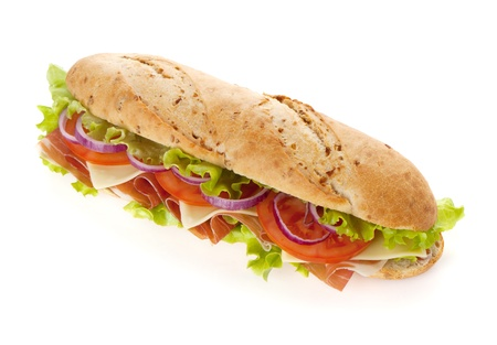 Long sandwich with ham, cheese, tomatoes, red onion and lettuce. Isolated on white. Another angle available photo