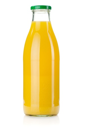 glass containers: Orange juice glass bottle. Isolated on white background Stock Photo