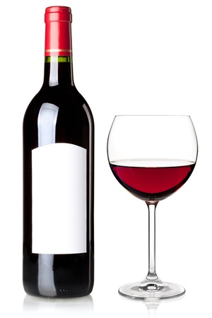 Red wine in bottle with blank label and glass. Isolated on white background Stock Photo - 9349562
