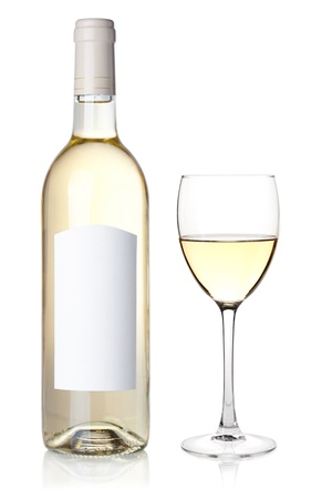 White wine in bottle with blank label and glass. Isolated on white background photo