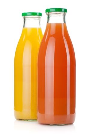 vaso de jugo: Botellas de jugo de naranja y pomelo. Aislados en fondo blanco