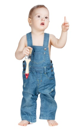 overalls: Small baby worker with paint brush. Isolated on white