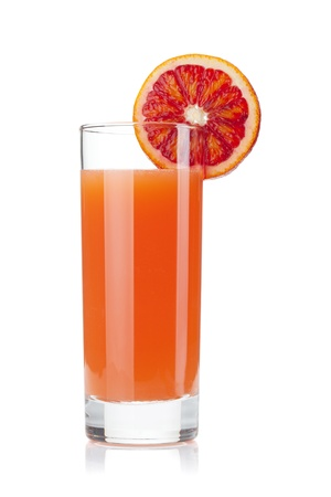 Grapefruit juice glass. Isolated on white background Stock Photo - 9402276