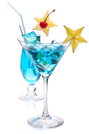 Two blue tropical cocktails. Isolated on white background Stock Photo - 9465382