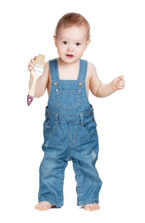 Small baby worker with paint brush. Isolated on white Stock Photo - 9465423