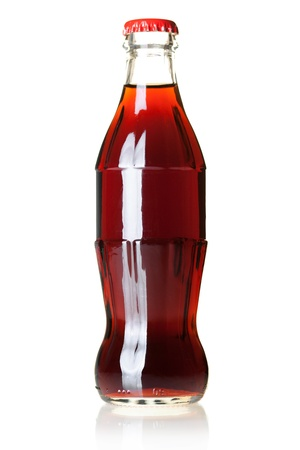 Bottle of cold cola. Isolated on white photo