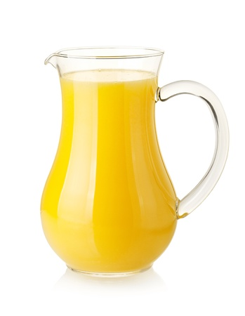 jugs: Orange juice in pitcher. Isolated on white background