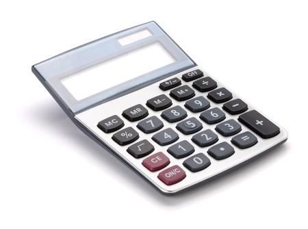 calculadora: Gran calculadora. Aislados en fondo blanco Foto de archivo