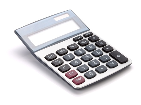 calculating: Large calculator. Isolated on white background