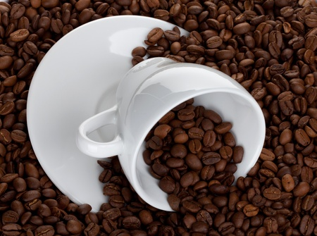 Coffee cup on beans background photo