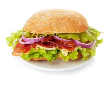 Small sandwich on plate with ham, cheese, tomatoes, red onion and lettuce. Isolated on white. Without plate available too Stock Photo
