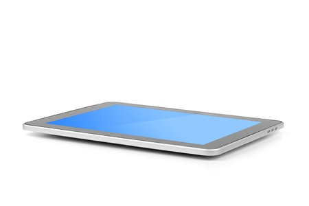 Touch screen tablet computer with gradient background. Isolated on white Stock Photo - 9703686
