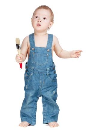Small baby worker with paint brush. Isolated on white Stock Photo - 9703700
