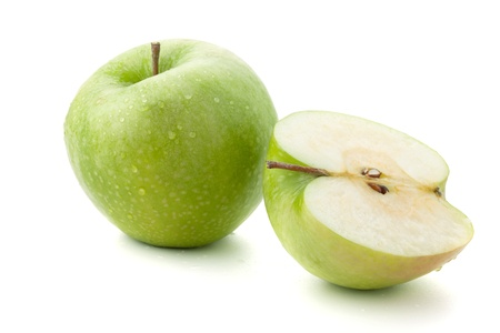 Ripe green apples. Isolated on white photo
