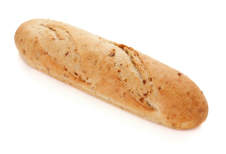 Long loaf bread. Isolated on white photo