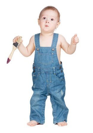 Small baby worker with paint brush Stock Photo - 9984624