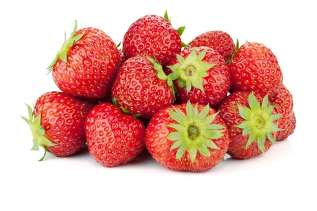 Strawberry fruits heap. Isolated on white background Stock Photo - 9960777