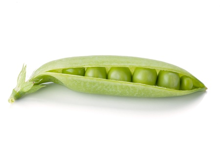 Opened ripe pea vegetable. Isolated on white background photo
