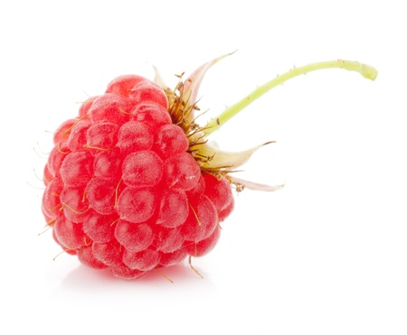 Fresh raspberry macro. Isolated on white background
