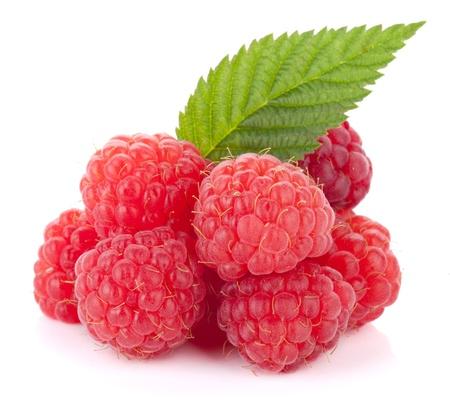 raspberries: Fresh raspberries with green leaf. Isolated on white background