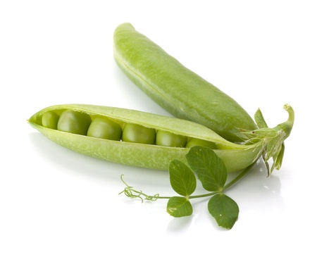 Ripe pea vegetable. Isolated on white background photo