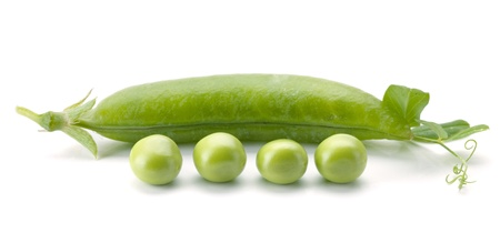 pod: Ripe pea vegetable. Isolated on white background