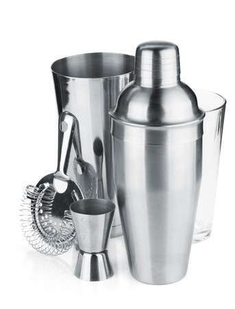 bar tool: Cocktail shakers, strainer and jigger. Isolated on white background Stock Photo