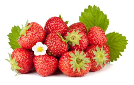 Strawberry fruits with flowers and green leaves. Isolated on white background