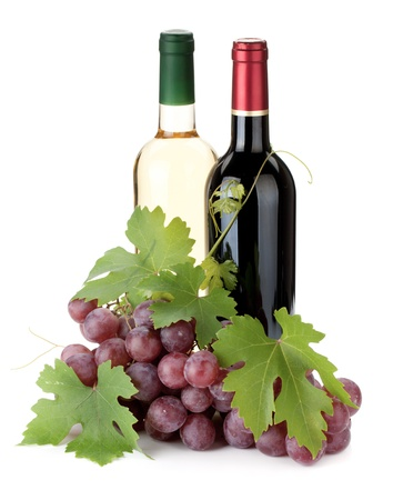 green glass bottle: Two wine bottles and grapes. Isolated on white background