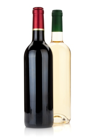 Red and white wine bottles. Isolated on white background photo