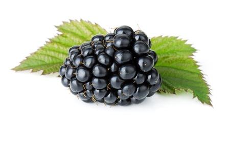 Ripe blackberry fruit. Isolated on white background Stock Photo