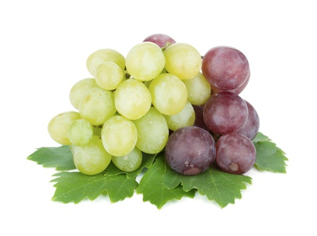 White and red grapes. Isolated on white background photo