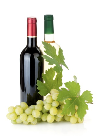 Two wine bottles and grapes. Isolated on white background Stock Photo - 10562774
