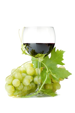 Red wine glass and grapes. Isolated on white background Stock Photo - 10639067