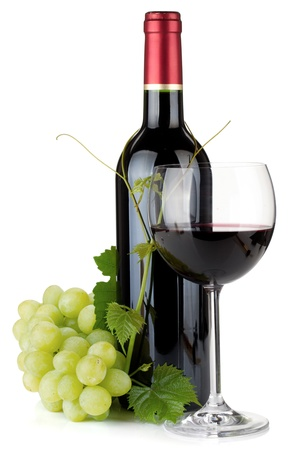 wine bar: Red wine glass, bottle and grapes. Isolated on white background