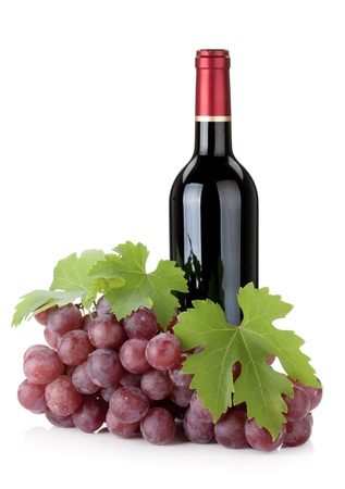 Red wine bottle and grapes. Isolated on white background Stock Photo - 10639070