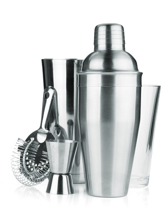 martini shaker: Cocktail shakers, strainer and jigger. Isolated on white background Stock Photo
