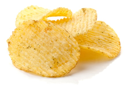 crispy: Potato chips isolated on white background Stock Photo