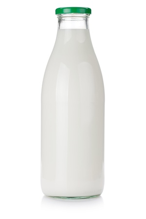 glass containers: Milk bottle. Isolated on white background