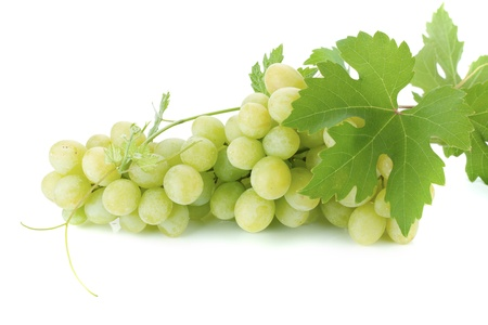 White grapes with leaves. Isolated on white background photo