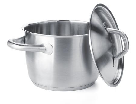 steel pan: Olla de acero inoxidable con tapa. Aisladas sobre fondo blanco