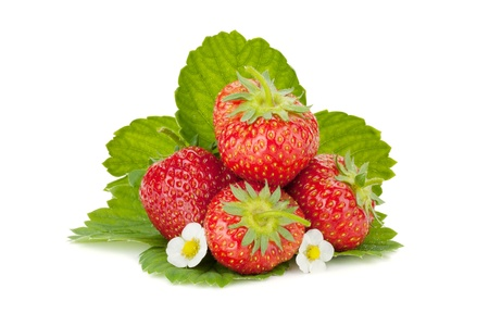 Strawberry fruits with flowers and green leaves. Isolated on white background photo