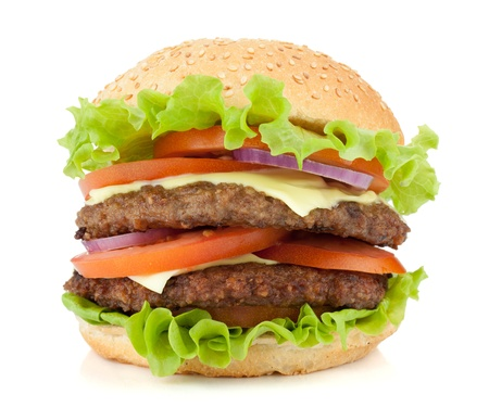 Fresh burger with two beef pieces. Isolated on white background Фото со стока