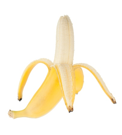 Open banana fruit. Isolated on white background photo