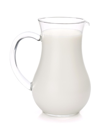 glass of milk: Milk jug. Isolated on white background