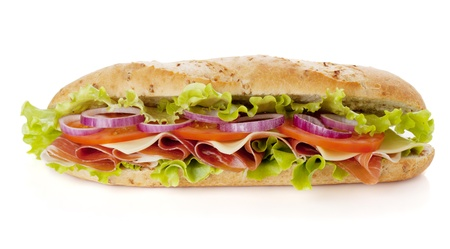 Long sandwich with ham, cheese, tomatoes, red onion and lettuce. Isolated on white. Another angle available Stock Photo - 11564130